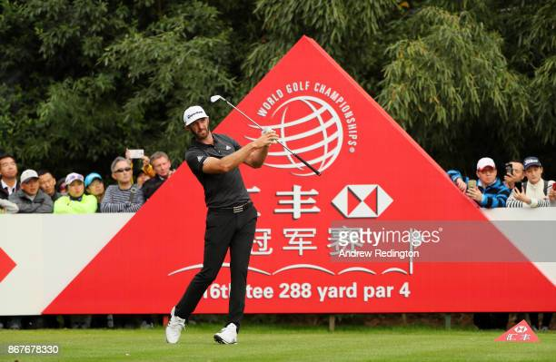 Dustin Johnson of the United States plays his shot from the 16th tee during the final round of the WGC HSBC Champions at Sheshan International Golf...