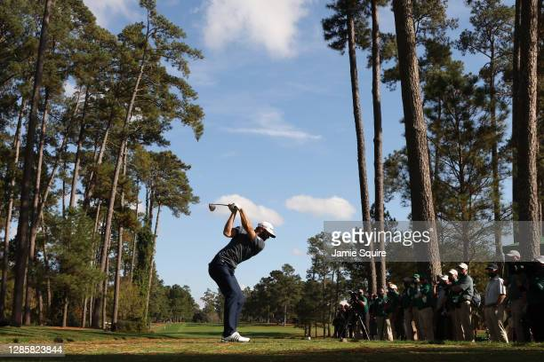 Dustin Johnson of the United States plays his shot from the 17th tee during the final round of the Masters at Augusta National Golf Club on November...