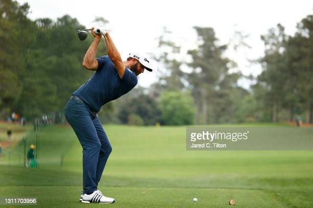 Dustin Johnson of the United States plays his shot from the 17th tee during the second round of the Masters at Augusta National Golf Club on April...