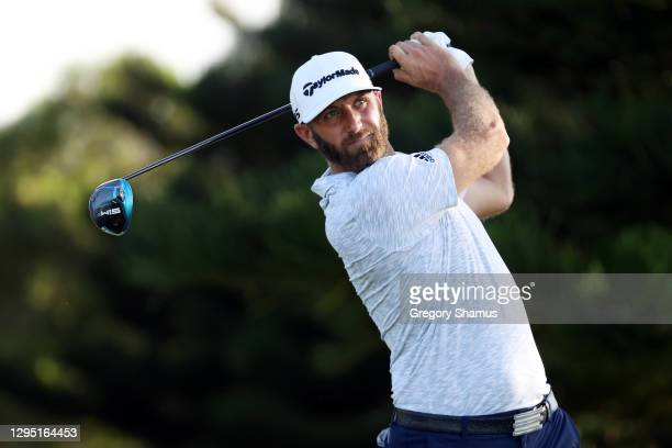 Dustin Johnson of the United States plays his shot from the 18th tee during the first round of the Sentry Tournament Of Champions at the Kapalua...