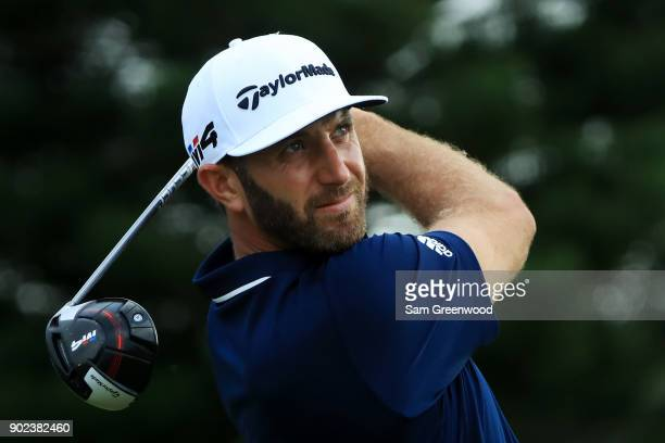 Dustin Johnson of the United States plays his shot from the 18th tee during the final round of the Sentry Tournament of Champions at Plantation...