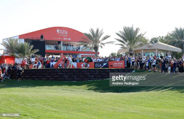 Dustin Johnson of the United States plays his shot from the 18th tee during round two of the Abu Dhabi HSBC Golf Championship at Abu Dhabi Golf Club...