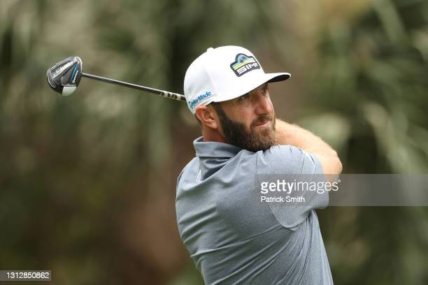 Dustin Johnson of the United States plays his shot from the eighth tee during the second round of the RBC Heritage on April 16, 2021 at Harbour Town...