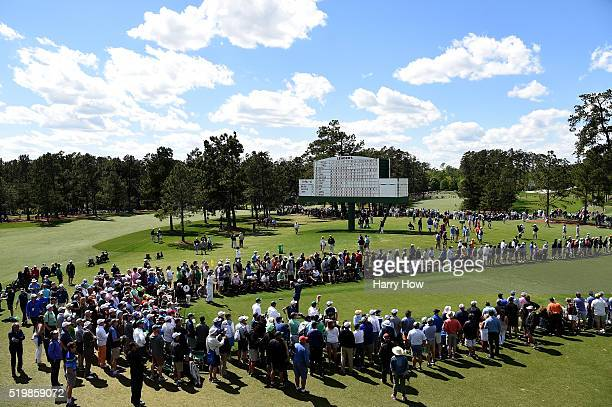 Dustin Johnson of the United States plays his shot from the eighth tee during the second round of the 2016 Masters Tournament at Augusta National...