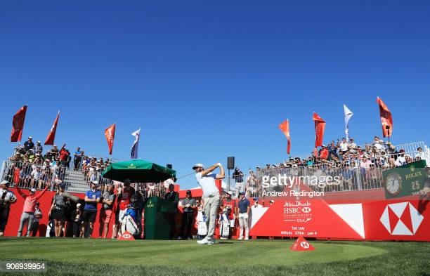 Dustin Johnson of the United States plays his shot from the first tee during round two of the Abu Dhabi HSBC Golf Championship at Abu Dhabi Golf Club...