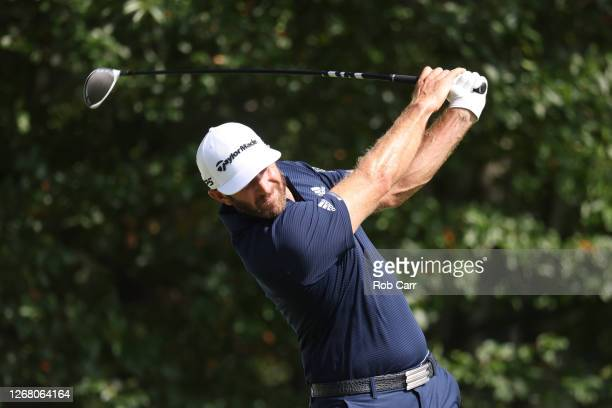 Dustin Johnson of the United States plays his shot from the fourth tee during the final round of The Northern Trust at TPC Boston on August 23 2020...