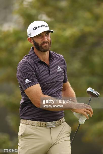 Dustin Johnson of the United States plays his shot from the second tee during the first round of the 120th U.S. Open Championship on September 17,...