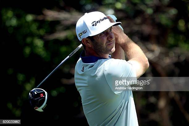 Dustin Johnson of the United States plays his shot from the second tee during the third round of the 2016 Masters Tournament at Augusta National Golf...