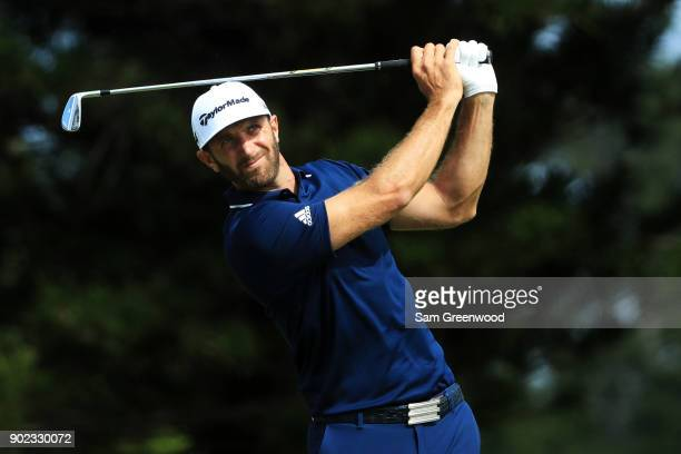Dustin Johnson of the United States plays his shot from the second tee during the final round of the Sentry Tournament of Champions at Plantation...