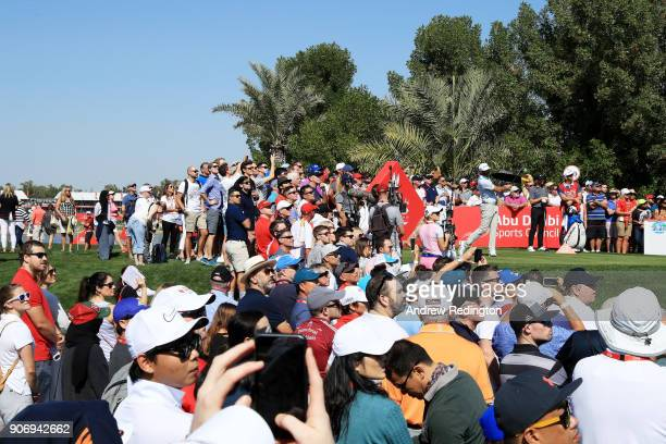 Dustin Johnson of the United States plays his shot from the second tee during round two of the Abu Dhabi HSBC Golf Championship at Abu Dhabi Golf...