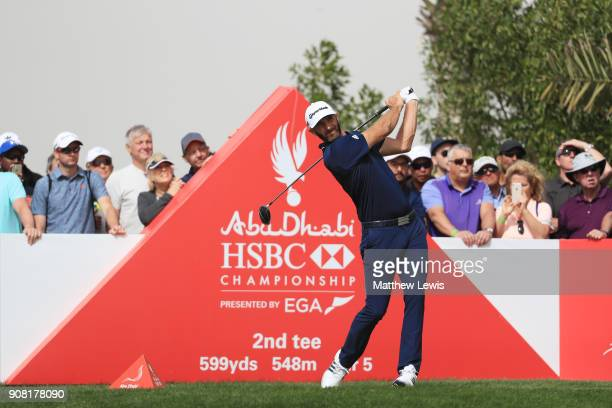 Dustin Johnson of the United States plays his shot from the second tee during the final round of the Abu Dhabi HSBC Golf Championship at Abu Dhabi...