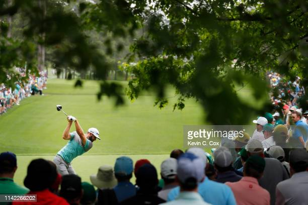 Dustin Johnson of the United States plays his shot from the seventh tee during the second round of the Masters at Augusta National Golf Club on April...