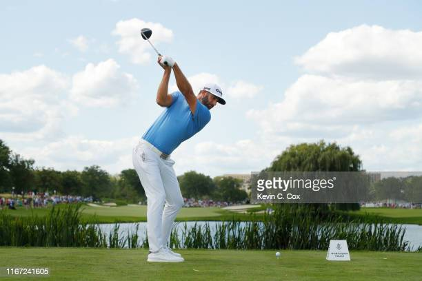 Dustin Johnson of the United States plays his shot from the seventh tee during the third round of The Northern Trust at Liberty National Golf Club on...