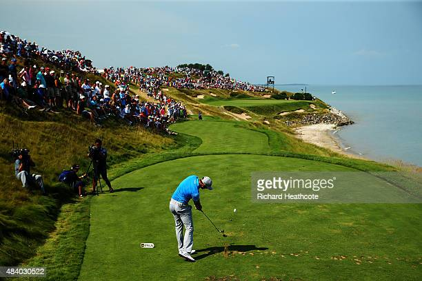 Dustin Johnson of the United States plays his shot from the seventh tee during the second round of the 2015 PGA Championship at Whistling Straits on...