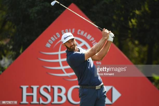Dustin Johnson of the United States plays his shot from the sixth tee during the third round of the WGC HSBC Champions at Sheshan International Golf...