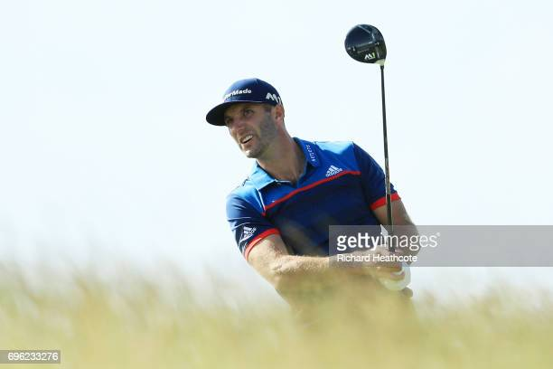 Dustin Johnson of the United States plays his shot from the tenth tee during the first round of the 2017 US Open at Erin Hills on June 15 2017 in...