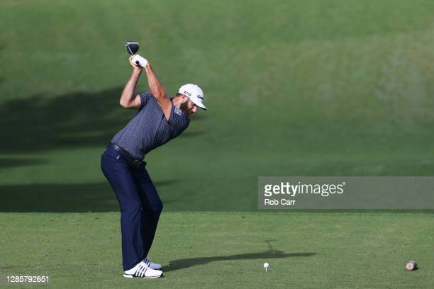 Dustin Johnson of the United States plays his shot from the third tee during the final round of the Masters at Augusta National Golf Club on November...
