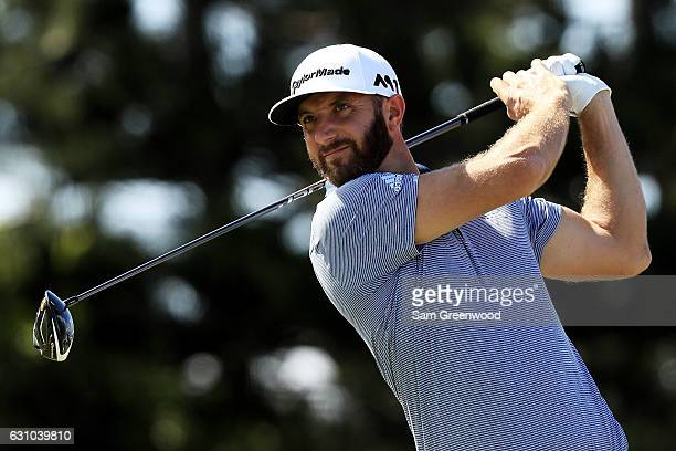 Dustin Johnson of the United States plays his shot from the third tee during the first round of the SBS Tournament of Champions at the Plantation...