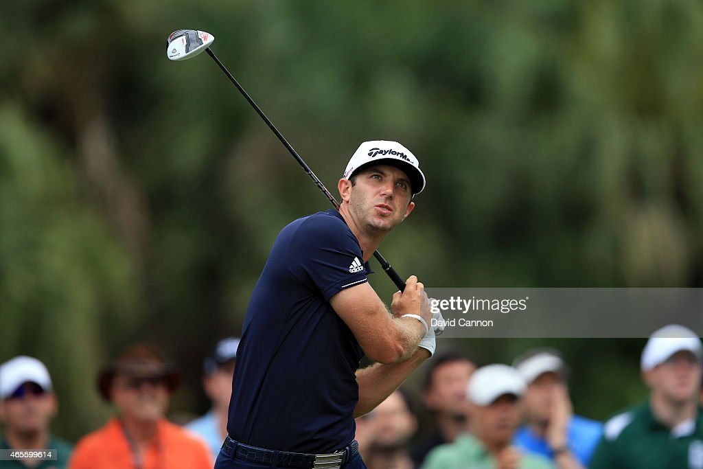 Dustin Johnson of the United States plays his tee shot on the seventh hole during the final round of the World Golf Championships-Cadillac Championship at Trump National Doral Blue Monster Course on March 8, 2015 in Doral, Florida.