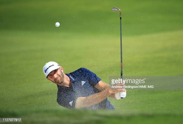 Dustin Johnson of The United States plays his third shot on the first hole during Day four of the Saudi International at the Royal Greens Golf...