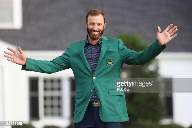 Dustin Johnson of the United States reacts during the Green Jacket Ceremony after winning the Masters at Augusta National Golf Club on November 15,...