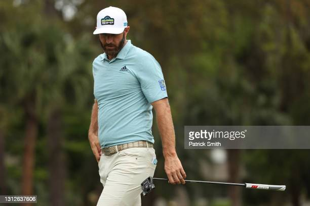 Dustin Johnson of the United States reacts on the 13th green during the first round of the RBC Heritage on April 15, 2021 at Harbour Town Golf Links...
