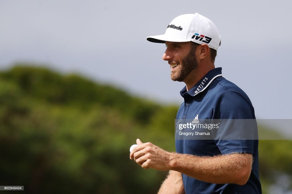 Dustin Johnson of the United States reacts on the fourth green during the final round of the Sentry Tournament of Champions at Plantation Course at Kapalua Golf Club on January 7, 2018 in Lahaina, Hawaii.