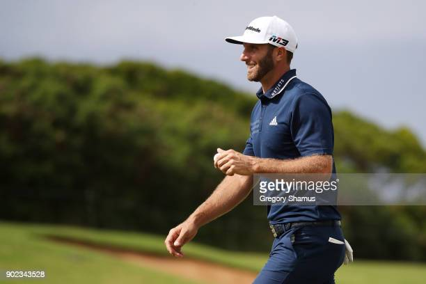 Dustin Johnson of the United States reacts on the fourth green during the final round of the Sentry Tournament of Champions at Plantation Course at...