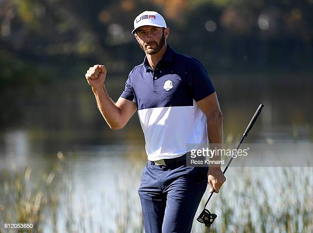 Dustin Johnson of the United States reacts to a putt on the tenth green during singles matches of the 2016 Ryder Cup at Hazeltine National Golf Club...