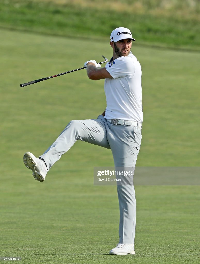 Dustin Johnson of the United States reacts to his second shot on the 15th hole during the final round of the 2018 US Open at Shinnecock Hills Golf Club on June 17, 2018 in Southampton, New York.