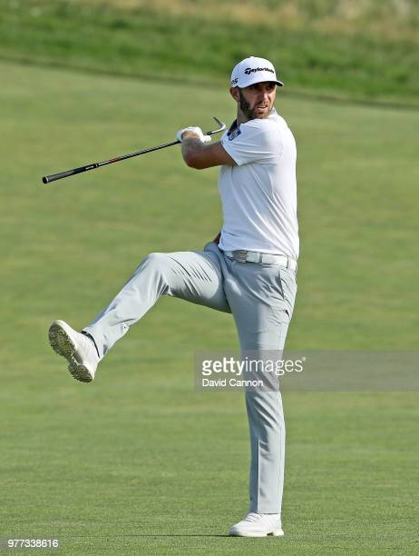 Dustin Johnson of the United States reacts to his second shot on the 15th hole during the final round of the 2018 US Open at Shinnecock Hills Golf...