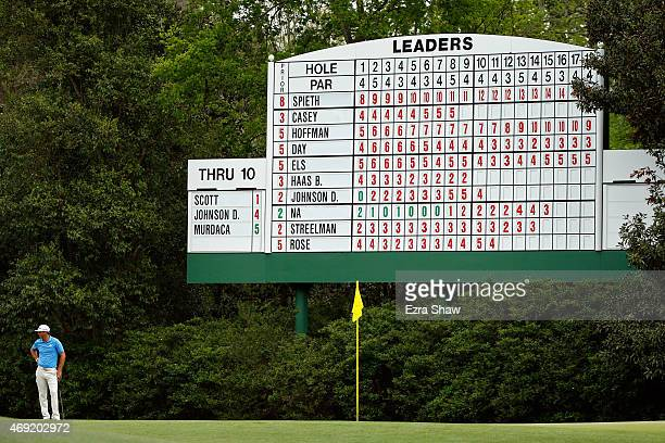Dustin Johnson of the United States stands on the green at the 11th hole during the second round of the 2015 Masters Tournament at Augusta National...