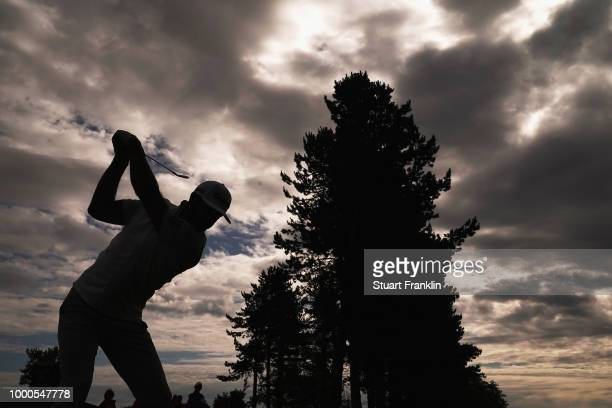 Dustin Johnson of the United States tees off during previews to the 147th Open Championship at Carnoustie Golf Club on July 17 2018 in Carnoustie...