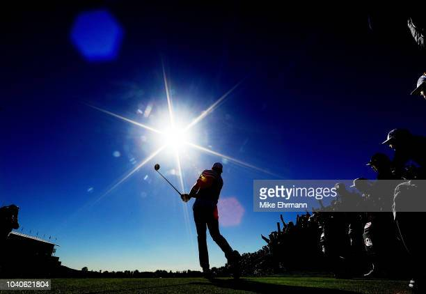 Dustin Johnson of the United States tees off on the 13th during practice ahead of the 2018 Ryder Cup at Le Golf National on September 26 2018 in...