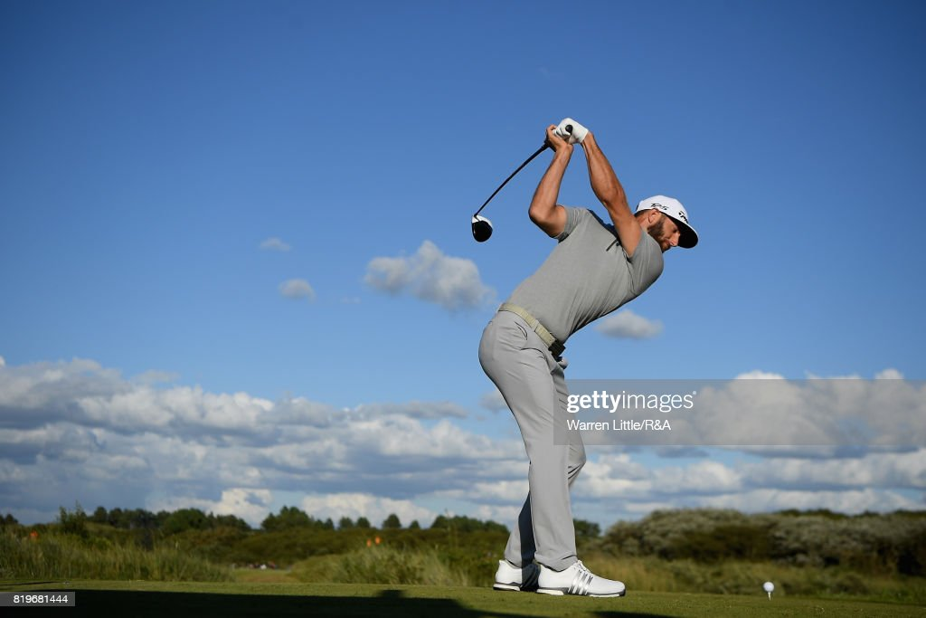 Dustin Johnson of the United States tees off on the 17th hole during the first round of the 146th Open Championship at Royal Birkdale on July 20, 2017 in Southport, England.
