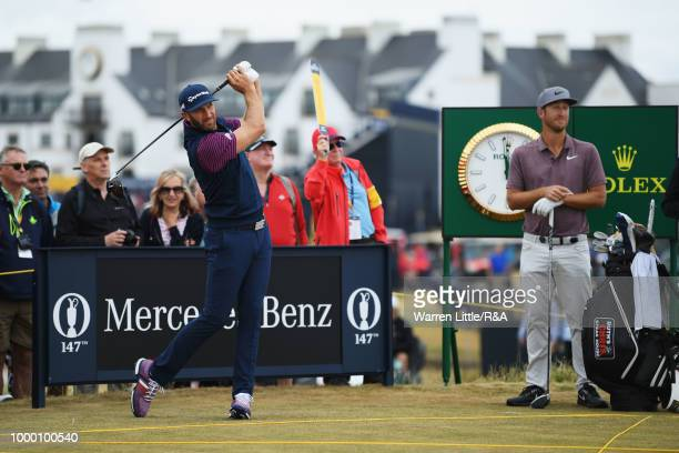 Dustin Johnson of the United States tees off on the 2nd hole while on a practice round during previews to the 147th Open Championship at Carnoustie...