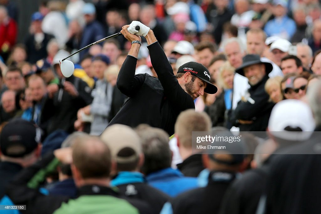 Dustin Johnson of the United States tees off on the 4th hole during the third round of the 144th Open Championship at The Old Course on July 19, 2015 in St Andrews, Scotland.