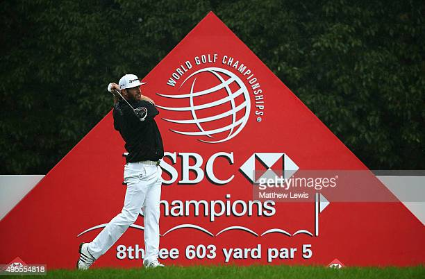 Dustin Johnson of the United States tees off on the 8th hole during the Pro Am event prior to the start of the WGC HSBC Champions at the Sheshan...