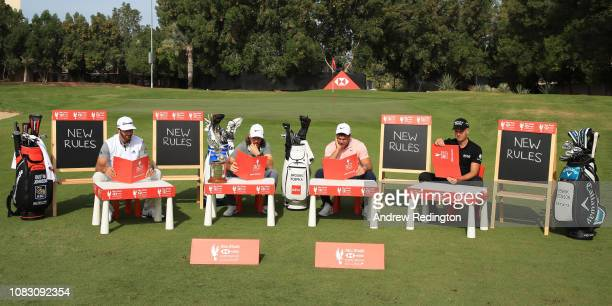 Dustin Johnson of the United States Tommy Fleetwood of England Brooks Koepka of the United States and Henrik Stenson of Sweden go back to school with...