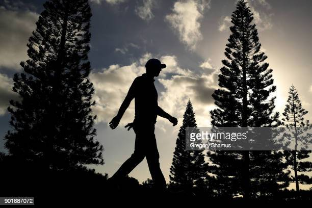 Dustin Johnson of the United States walks from the 18th tee during the second round of the Sentry Tournament of Champions at Plantation Course at...