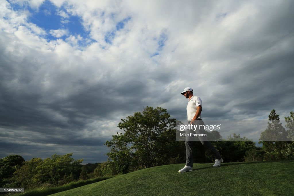 Dustin Johnson of the United States walks off the 15th tee during the first round of the 2018 U.S. Open at Shinnecock Hills Golf Club on June 14, 2018 in Southampton, New York.