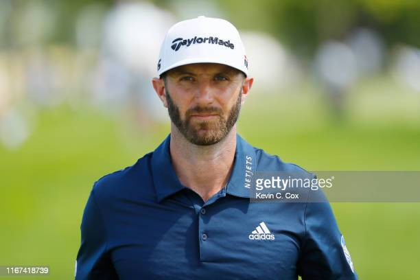 Dustin Johnson of the United States walks on the seventh hole during the final round of The Northern Trust at Liberty National Golf Club on August...