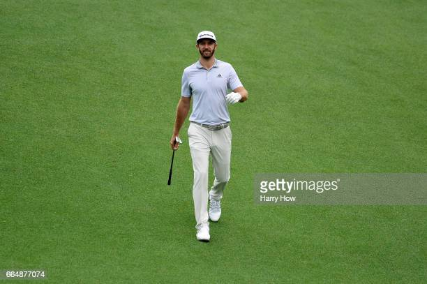 Dustin Johnson of the United States walks on the tenth hole during a practice round prior to the start of the 2017 Masters Tournament at Augusta...