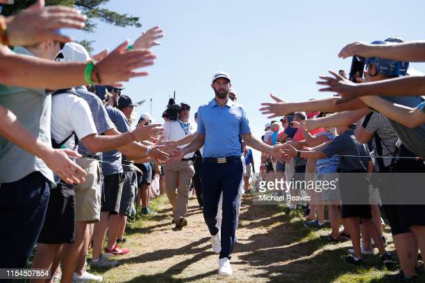 Dustin Johnson of the United States walks to the 13th tee during the second round of the RBC Canadian Open at Hamilton Golf and Country Club on June...