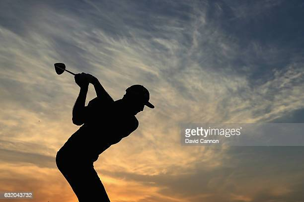 Dustin Johnson of the United States warming up on the driving range before the first round of the 2017 Abu Dhabi HSBC Golf Championship at Abu Dhabi...
