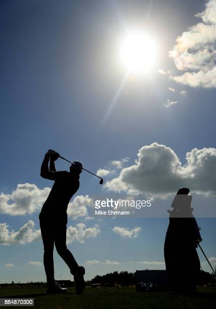 Dustin Johnson of the United States warms up on the range prior to the final round of the Hero World Challenge at Albany Bahamas on December 3 2017...