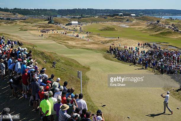 Dustin Johnson of the United States watches his tee shot on the sixth hole during the final round of the 115th U.S. Open Championship at Chambers Bay...