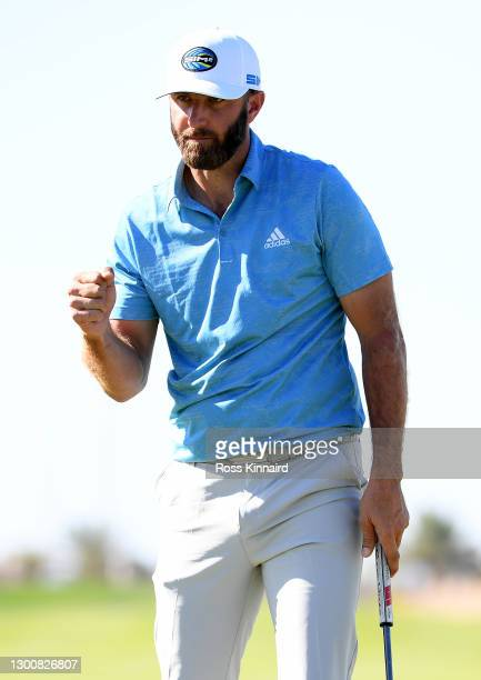 Dustin Johnson of the USA celebrates on the last hole during the final round of the Saudi International powered by SoftBank Investment Advisers at...