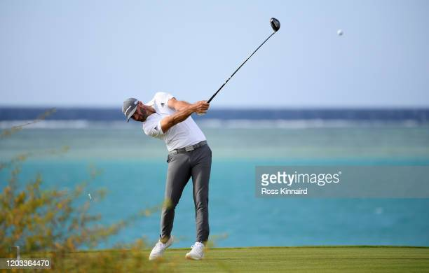 Dustin Johnson of the USA in action during the third round of the Saudi International at Royal Greens Golf and Country Club on February 01, 2020 in...