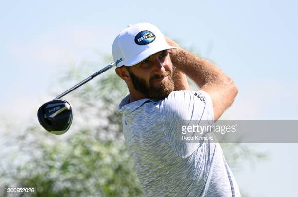 Dustin Johnson of the USA on the 6th tee during the third round of the Saudi International powered by SoftBank Investment Advisers at Royal Greens...